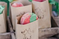 24 fresh peaches in paper bags are a delicious way to embrace the season and let your guests enjoy a summer taste