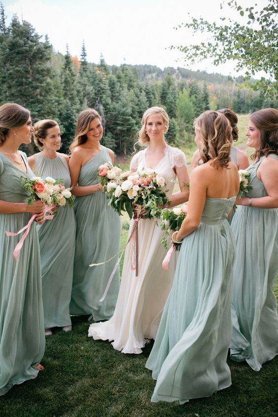sage green mismatching maxi dresses with various necklines and silhouettes for a pastel touch