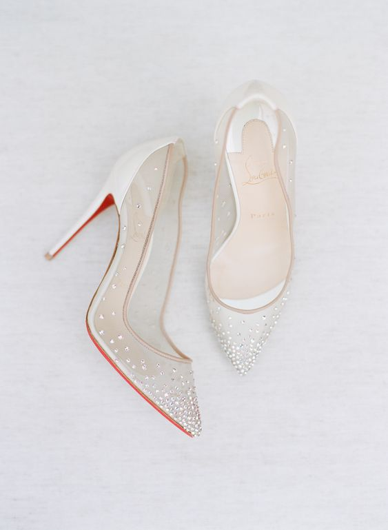 sheer embellished wedding heels are a great idea to look delicate, feminine and tender