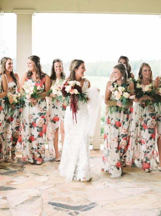 bold floral bridesmaids' dresses with various necklines and of different lengths for a cheerful summer feel