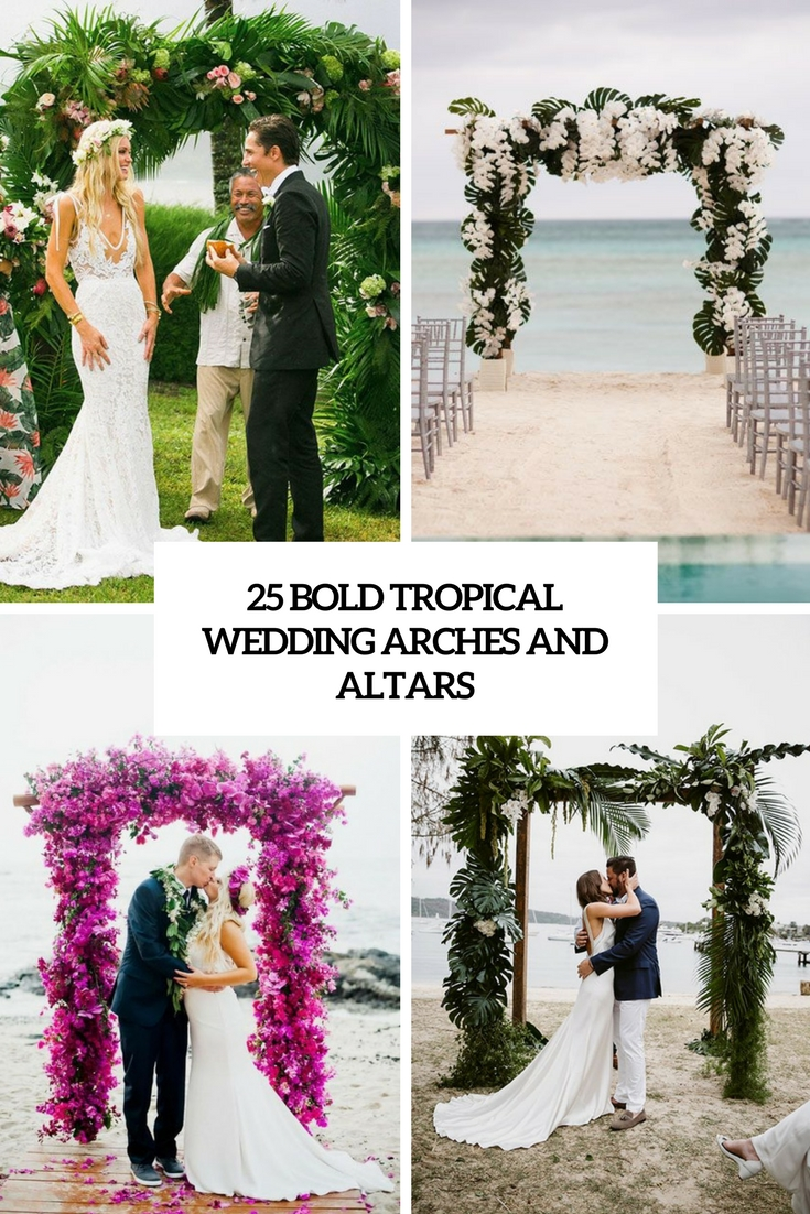 bold tropical wedding arches and altars cover