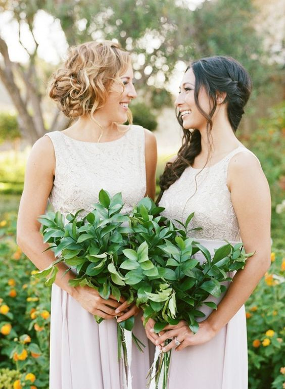 greenery bouquets for bridesmaids is a great idea to save on the budget