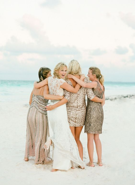 mismatching gold sequin dresses, short, knee and maxi ones for glam beach bridesmaids