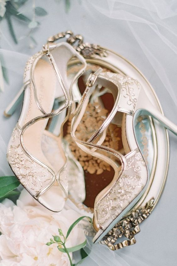 whimsical gold lace strappy wedding shoes with cutouts and peep toes look very exquisite