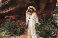 boho wedding gown with a train