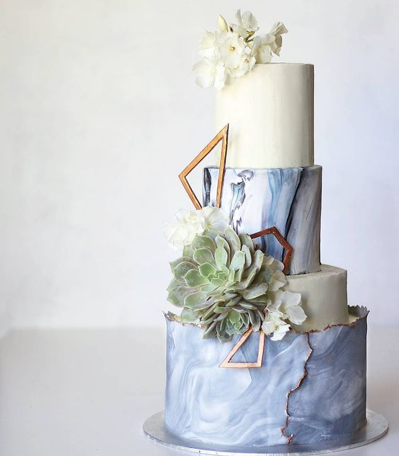marble wedding cake with succulents
