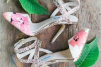 27 whimsy floral and colroful glitter strappy shoes are perfect for a bold look and for a tropical wedding
