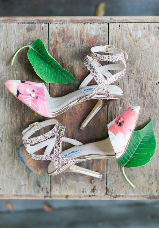 whimsy floral and colroful glitter strappy shoes are perfect for a bold look and for a tropical wedding