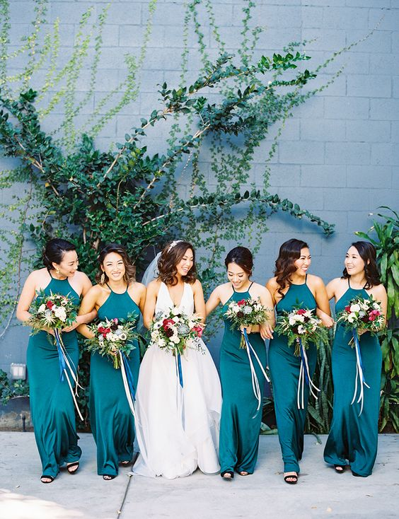 teal halter neckline fitting maxi dresses for a bold touch at a summer wedding