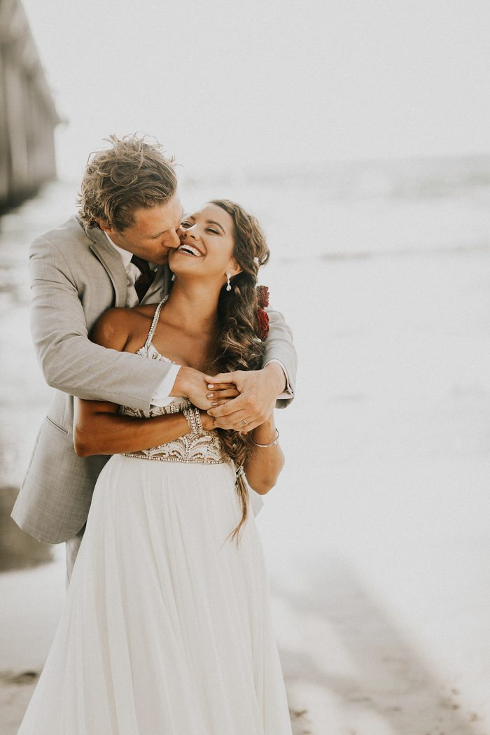 This couple opted for a glam and glitz beach wedding done in chic neutrals
