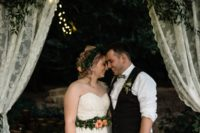 01 This couple wanted an outdoor rustic botanical wedding but due to the weather they had to bring everything indoors