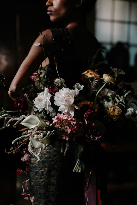 This gorgeous moody botanical wedding shoot was inspired by Dutch masters