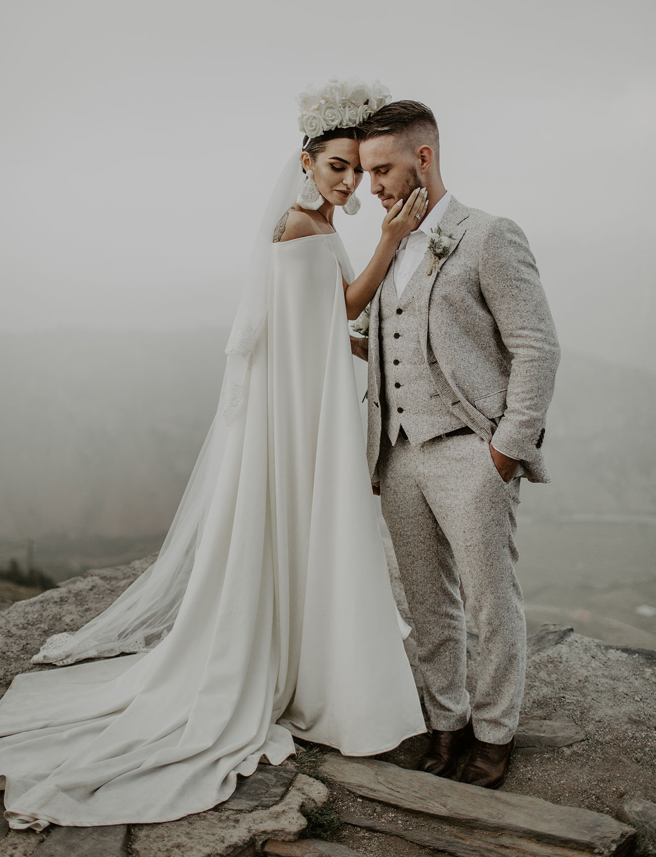 This unique wedding took part in the mountains of Georgia and everything looked wow, from the couple to landscapes