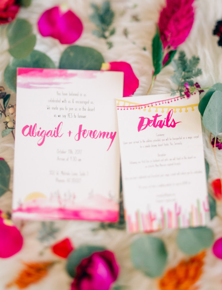 The wedding invitations were colorful and festival-inspired ones
