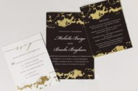 02 The wedding stationery was done with black and gold splatter for a bold look