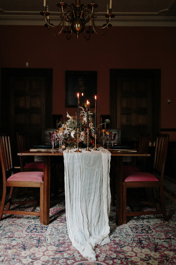 The wedding took place in an antique house, which already featured the furniture and artworks you may see