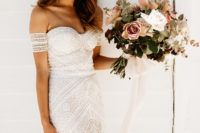 02 a boho lace sheath off the shoulder wedding dress with straps looks just wow
