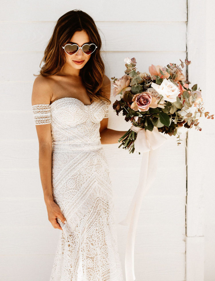 a boho lace sheath off the shoulder wedding dress with straps looks just wow