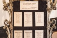 03 The wedding seating chart was very elegant, in a large vintage gilded frame