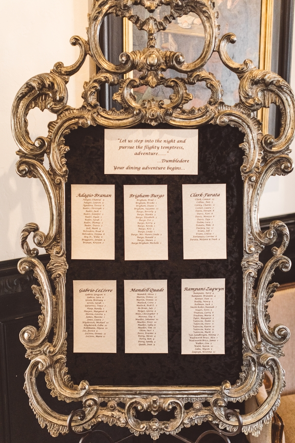 Picture Of The Wedding Seating Chart Was Very Elegant, In A Large Vintage  Gilded Frame