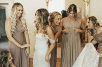 03 a boho lace sheath wedding dress with a front slit and a long train for a boho bride