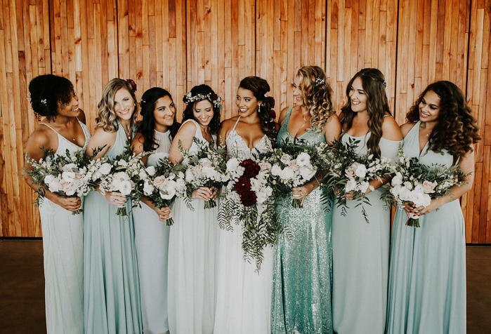 The bridesmaids were rocking mismatching mint green gowns