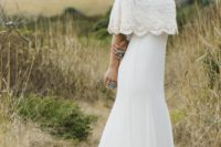 04 a boho lace fitting off the shoulder wedding dress with a small train is ideal for a summer bride