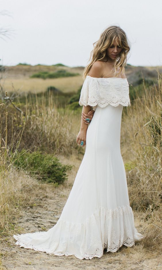 Picture Of A Boho Lace Fitting Off The Shoulder Wedding Dress With A