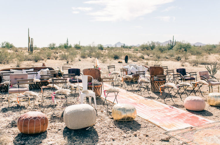 All the ottomans and chairs were mismatching for a boho look