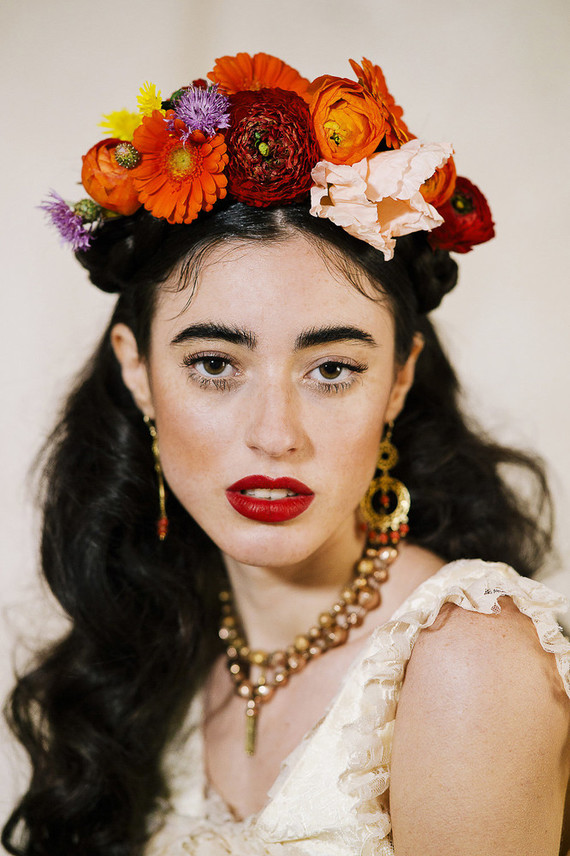 An oversized colorful floral crown was inspired by Mexican culture