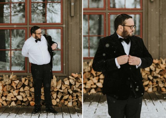 The groom opted for a black velvet tuxedo
