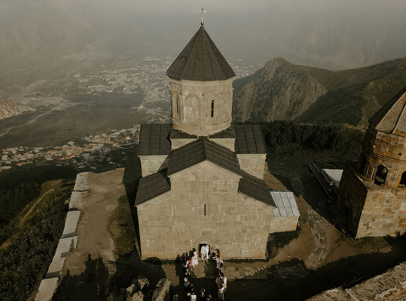 This is an ancient church where the wedding took place, 2000 meters above the sea level