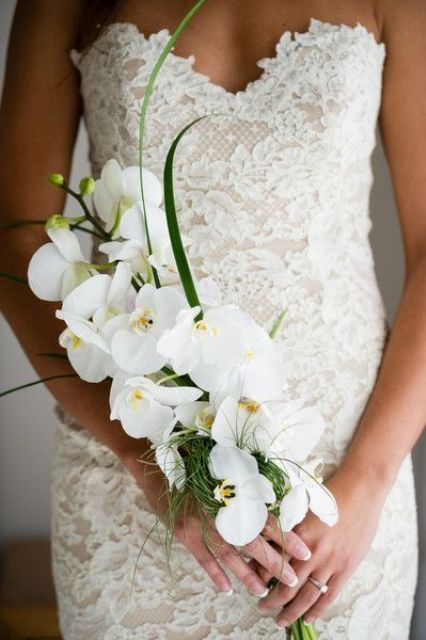 a sophisticated yet very simple bridal bouquet of white orchids and some greenery