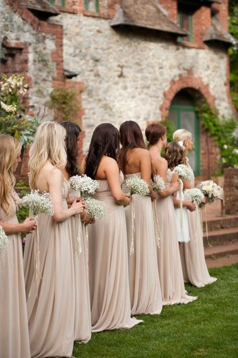 soft strapless maxi dresses for bridesmaids and baby's breath bouquets for a classic look