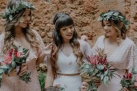 07 The bridesmaids were rocking blush lace gowns and greenery crowns
