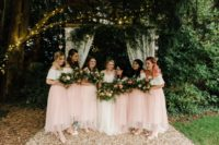 07 The bridesmaids were wearing white off the shoulder tops and pink tulle midi skirts