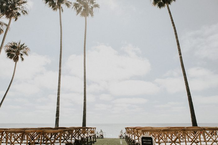 The wedding ceremony space was on the beach, the ocean was a perfect backdrop
