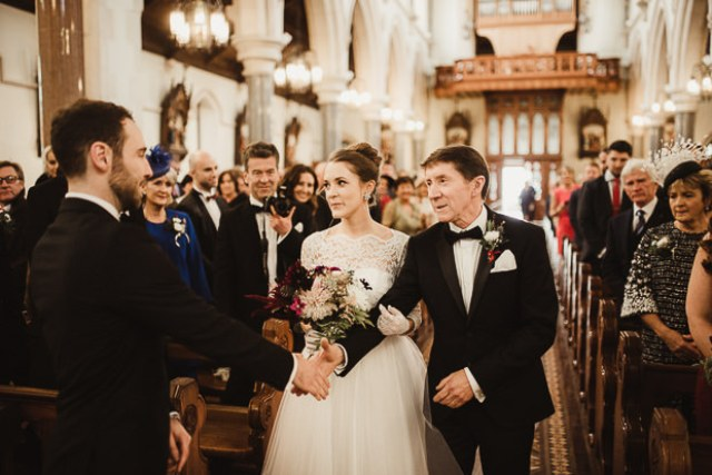 The wedding ceremony took place in a church