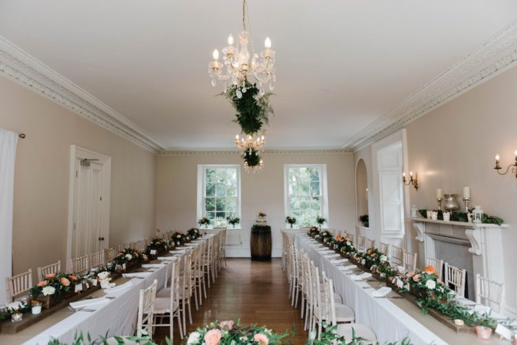 All the decor was brought indoors, even greenery hanging from the chandeliers