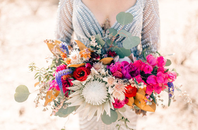 Her bouquet was very bold and vibrant with pink, purple, yellow and orange touches