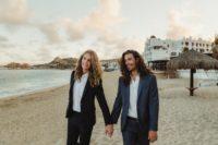 good looking grooms on the beach