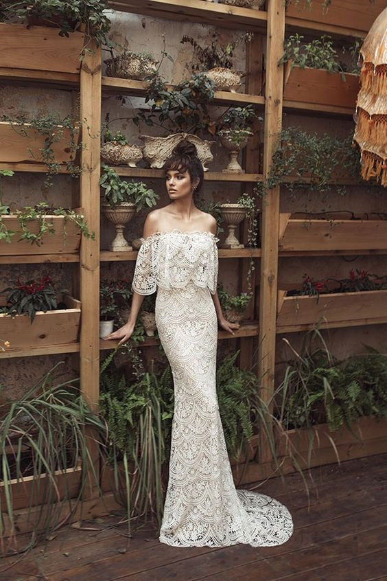 off the shoulder gown with a train