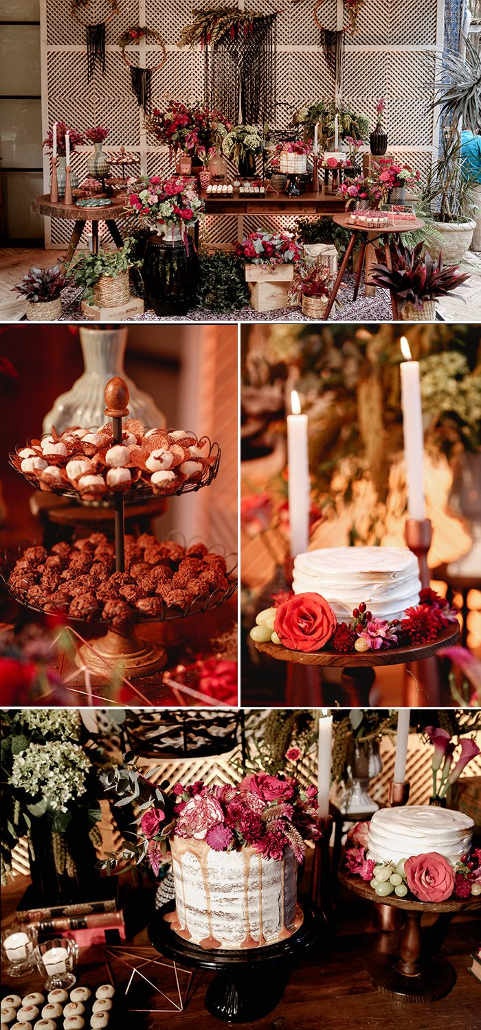 A lavish and refined dessert table featured a lot of sweets, bold flowers and greenery