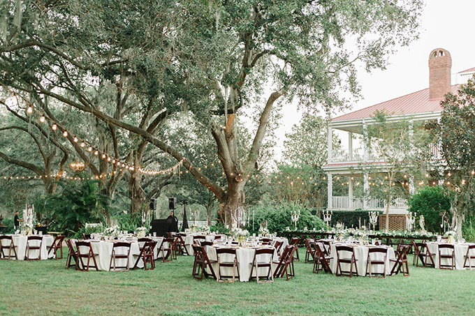 The reception was also an outdoor one, with lots of lights and trees around for a gorgeous garden wedding
