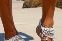 09 boho gypsy bridal anklets with lots of chain layers and rhinestones for a bold beach look