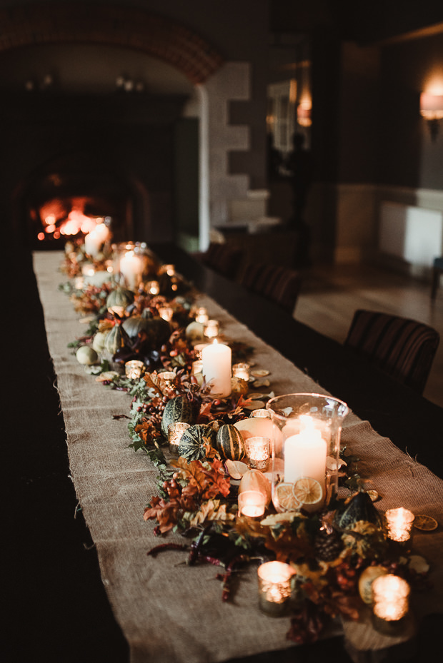 All these table runners were made with fall leaves, citrus, pumpkinsm pinecones and candles