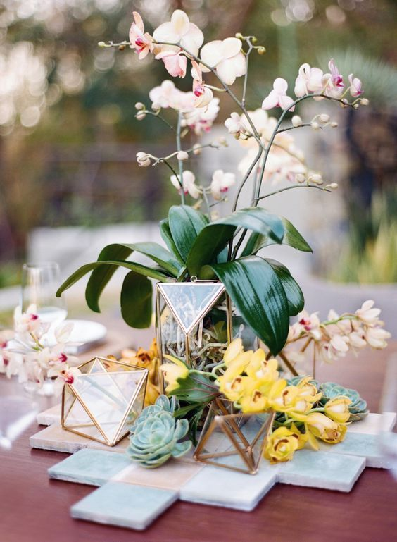 Picture Of Geometric Wedding Centerpiece With Candle Holders