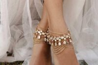 10 boho bridal anklets of multiple layer chains and rhinestones for a boho feel at the wedding