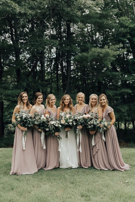 taupe ruffled neckline maxi bridesmaids' dresses for a soft girlish look