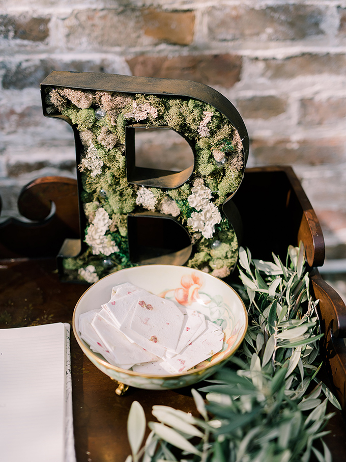 Some decorations were made by the bride, for example, this moss covered monogram